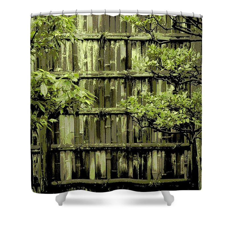 Moss Shower Curtain featuring the photograph Mossy Bamboo Fence - Digital Art by Carol Groenen