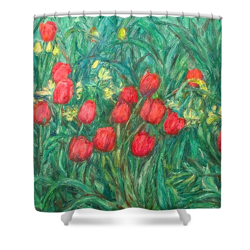 Kendall Kessler Shower Curtain featuring the painting Mostly Tulips by Kendall Kessler