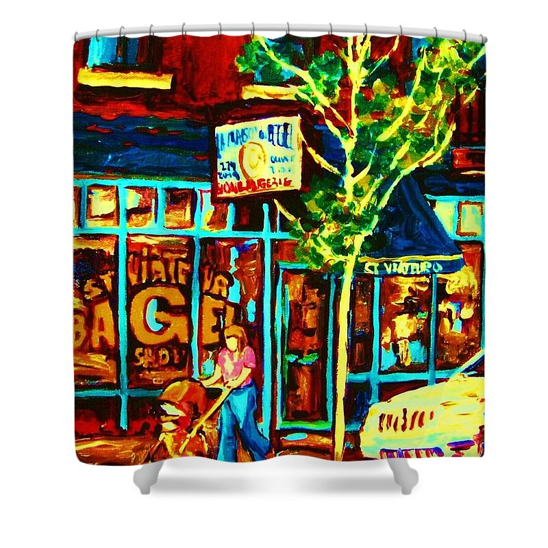 St Shower Curtain featuring the painting Mother And Child by Carole Spandau