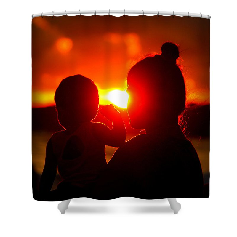 Shower Curtain featuring the photograph Mother And Child On Sunset by Nikky Nish