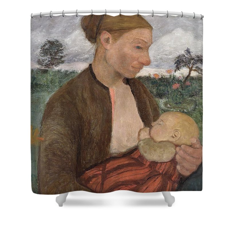 Mother Shower Curtain featuring the painting Mother And Child by Paula Modersohn Becker