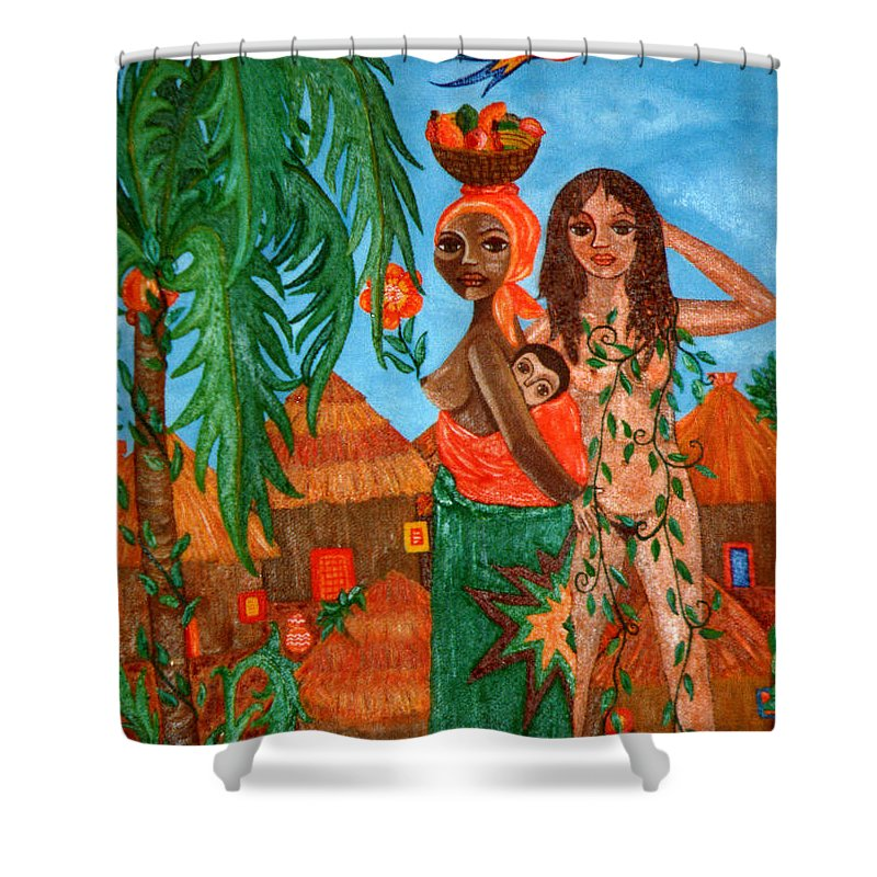 Mother Shower Curtain featuring the painting Mother Black Mother White by Madalena Lobao-Tello