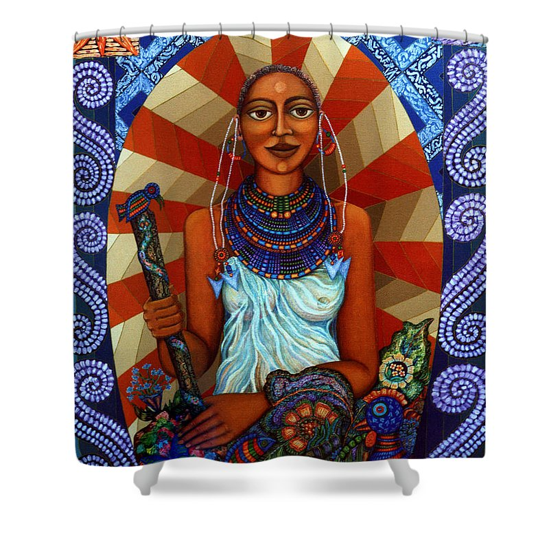 Mother Earth Shower Curtain featuring the painting Mother Earth by Madalena Lobao-Tello