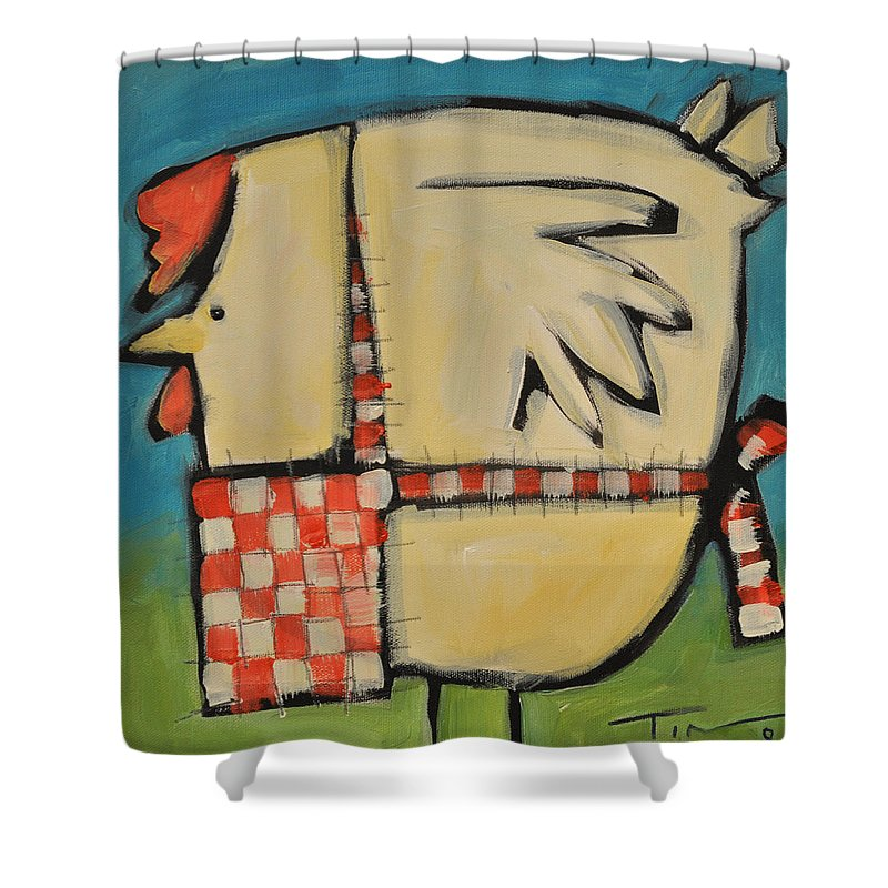 Hen Shower Curtain featuring the painting Mother Hen by Tim Nyberg
