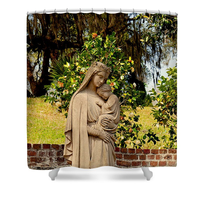 Holy Mary And Child Shower Curtain featuring the photograph Mother Mary by Susanne Van Hulst