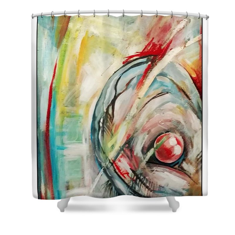 Abstract Shower Curtain featuring the painting Mother Of Pearl by Kristin Lozoya