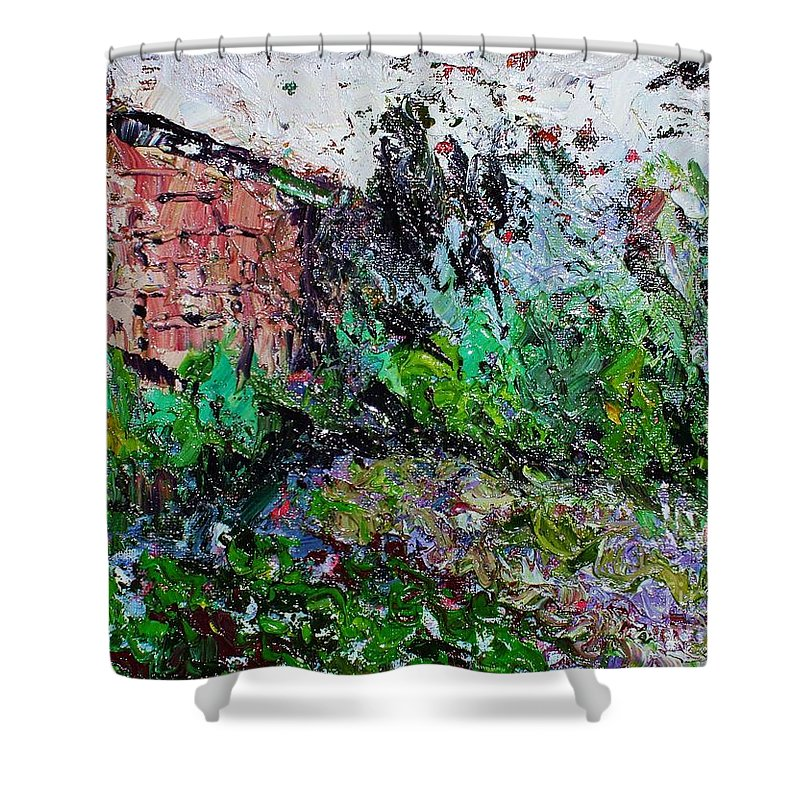 Garden Paintings Shower Curtain featuring the painting Mother by Seon-Jeong Kim