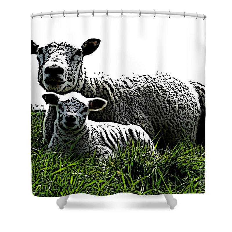 Mother Shower Curtain featuring the mixed media Motherly Love by Steve K