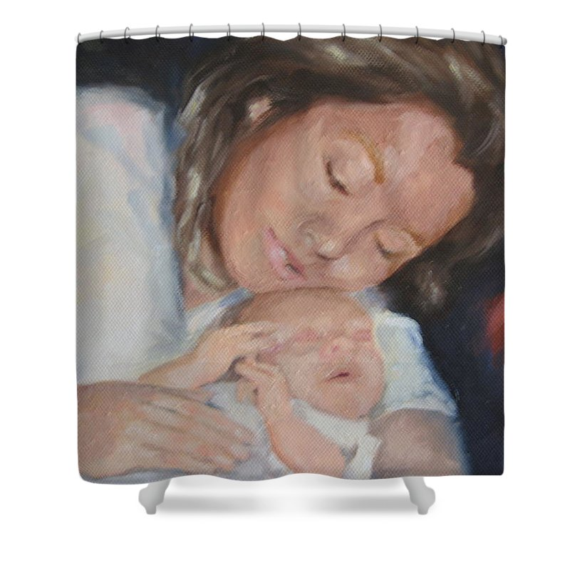 Mother Shower Curtain featuring the painting Mother's Love by Carol Mueller