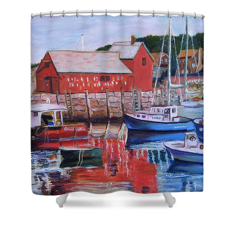 Rockport Shower Curtain featuring the painting Motif Number One by Richard Nowak