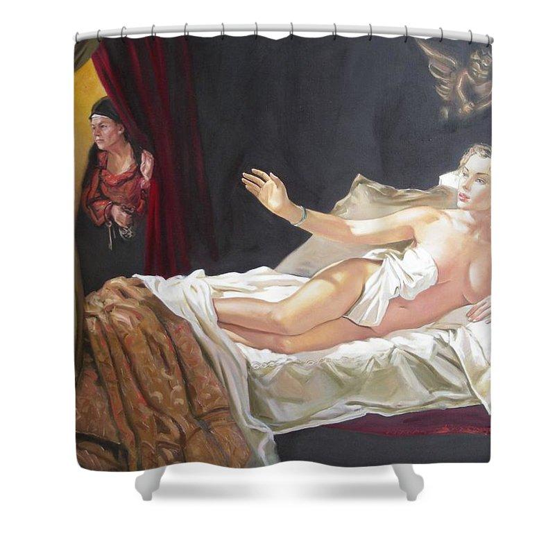 Ignatenko Shower Curtain featuring the painting Motif Of Danae by Sergey Ignatenko