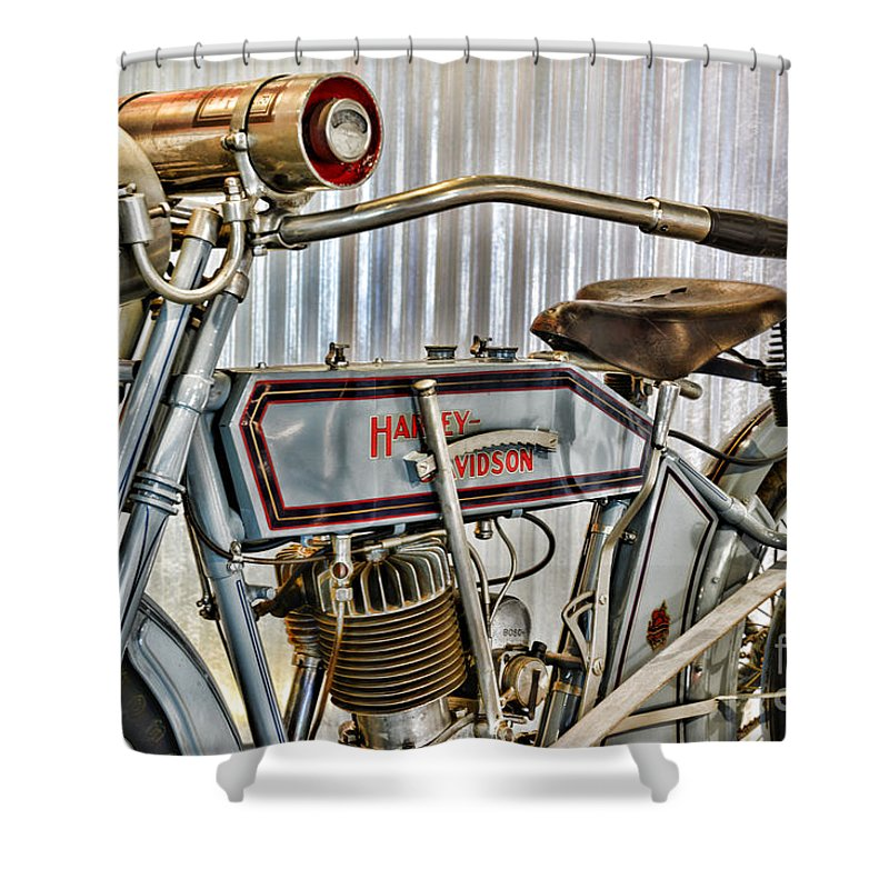 Paul Ward Shower Curtain Featuring The Photograph Motorcycle   1913 Harley  Davidson 9a By Paul Ward