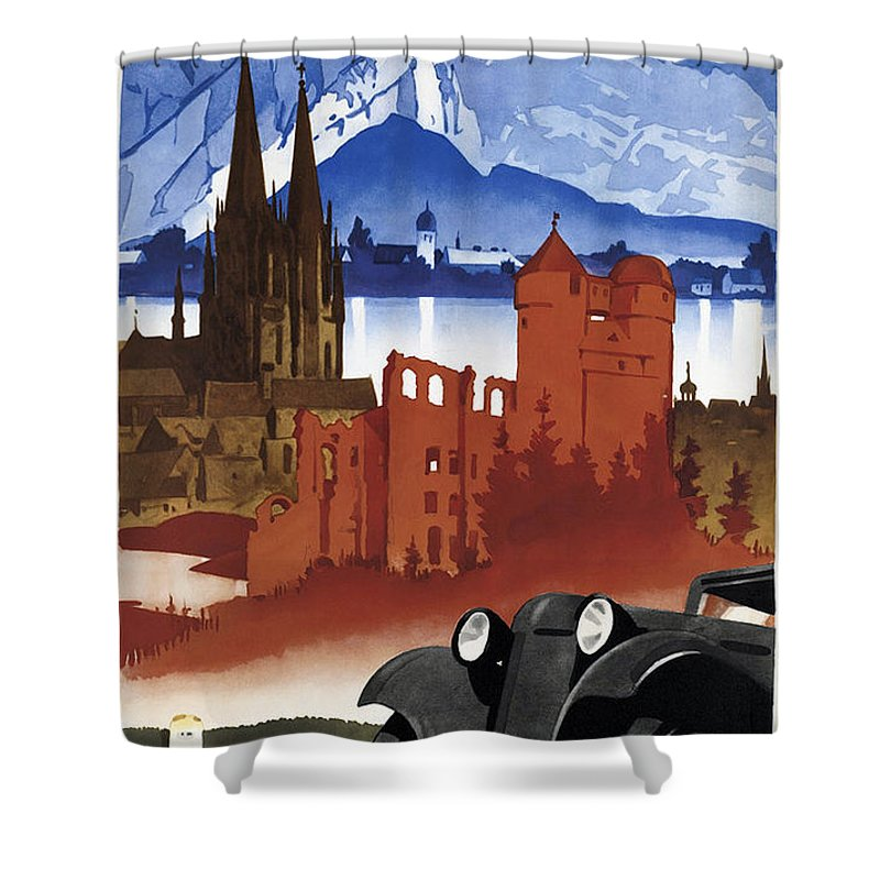 Motoring In Germany Shower Curtain featuring the mixed media Motoring In Germany - Retro Travel Poster - Vintage Poster by Studio Grafiikka