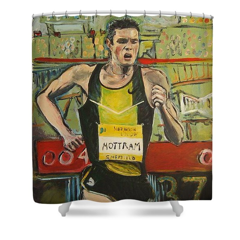 Runner Shower Curtain featuring the painting Motram by Todd Artist