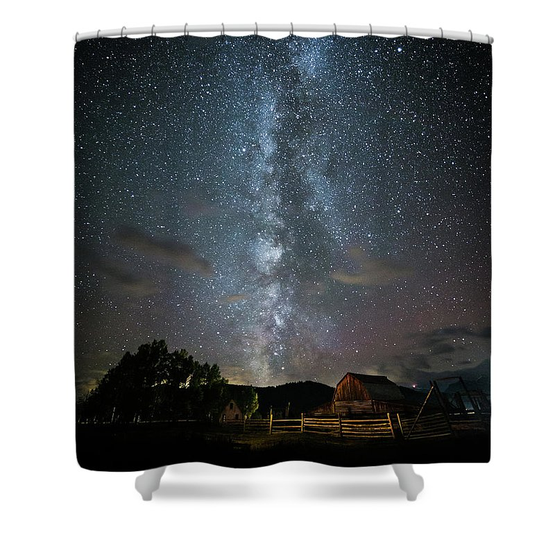 Moulton Barn Shower Curtain featuring the photograph Moulton Barn Milky Way by Sarah Arthur