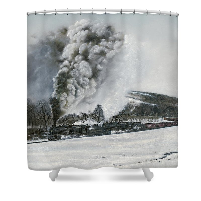 Trains Shower Curtain featuring the painting Mount Carmel Eruption by David Mittner