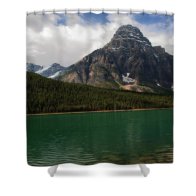 Mount Chephren And Waterfowl Lake Shower Curtain featuring the photograph Mount Chephren From Waterfowl Lake - Banff National Park by Yefim Bam