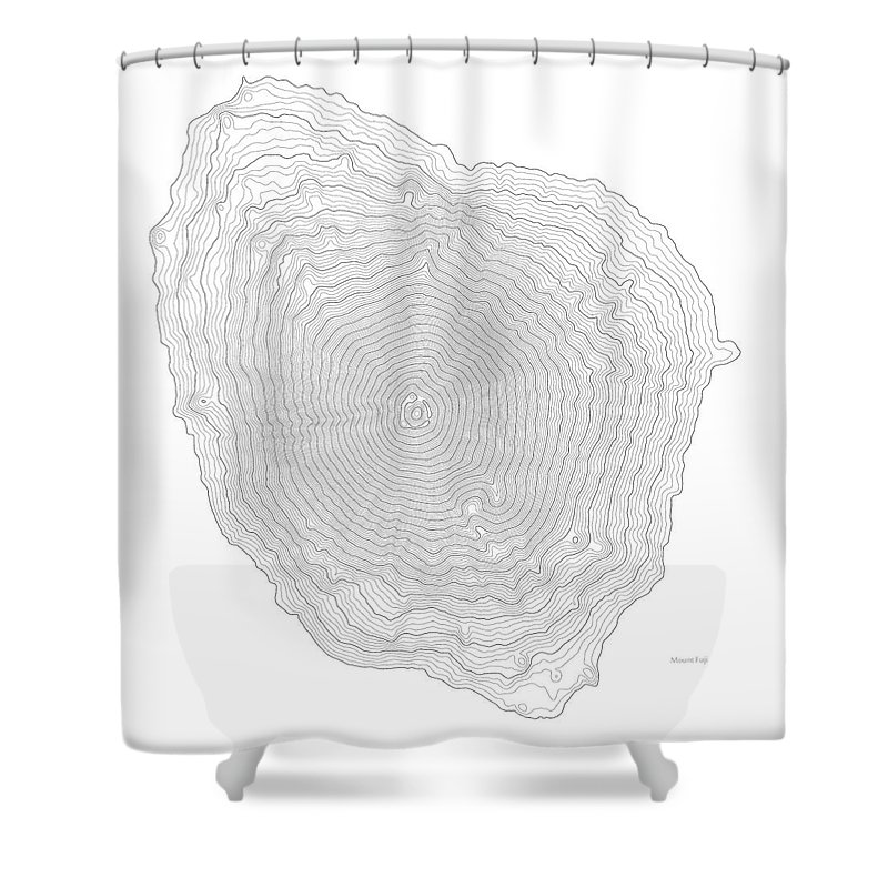 Mount Fuji Art Print Contour Map Of In Japan Shower Curtain For Sale By Jurq Studio