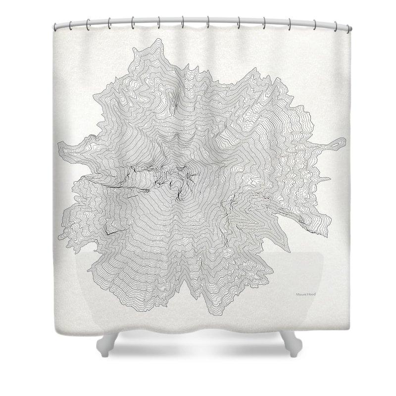 Topo Shower Curtain featuring the digital art Mount Hood Black Elevation Contours Vintage by Jurq Studio