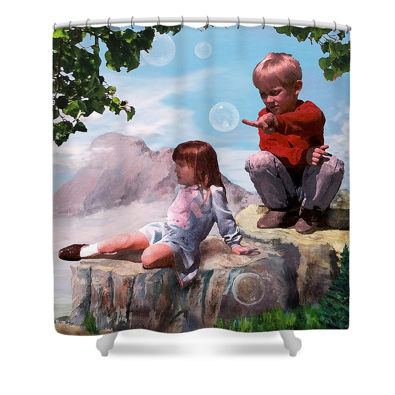 Landscape Shower Curtain featuring the painting Mount Innocence by Steve Karol