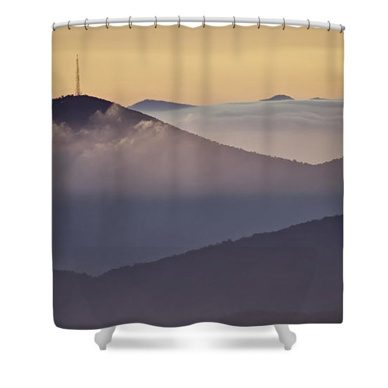 Parkway Shower Curtain featuring the photograph Mount Pisgah In Morning Light - Blue Ridge Mountains by Rob Travis