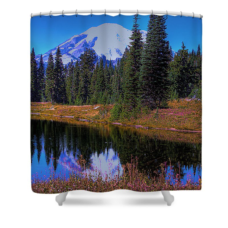 Mountain Shower Curtain featuring the photograph Mount Rainier And Tipsoo Lake by David Patterson