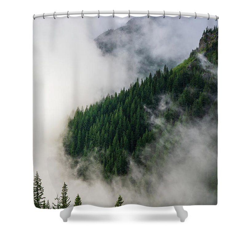 Rainier Shower Curtain featuring the photograph Mount Rainier National Park Clouds And Forest by Mike Reid
