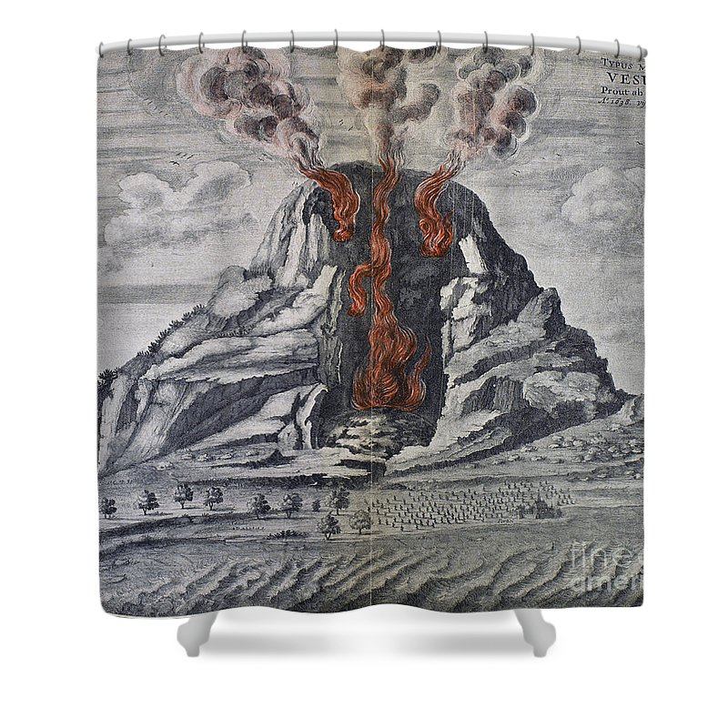 1665 Shower Curtain featuring the photograph Mount Vesuvius, 1665 by Granger
