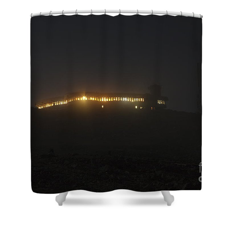 Mount Washington Shower Curtain featuring the photograph Mount Washington New Hampshire - Sherman Adams Building by Erin Paul Donovan