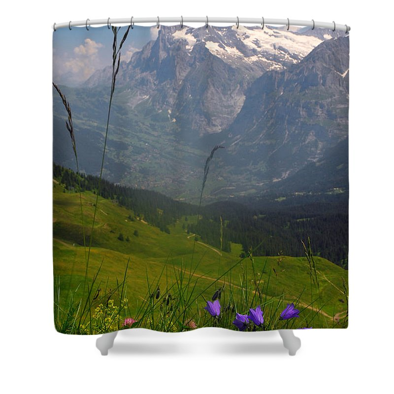 Grindelwald Shower Curtain featuring the photograph Mount Wetterhorn And The Grindelwald by Anne Keiser