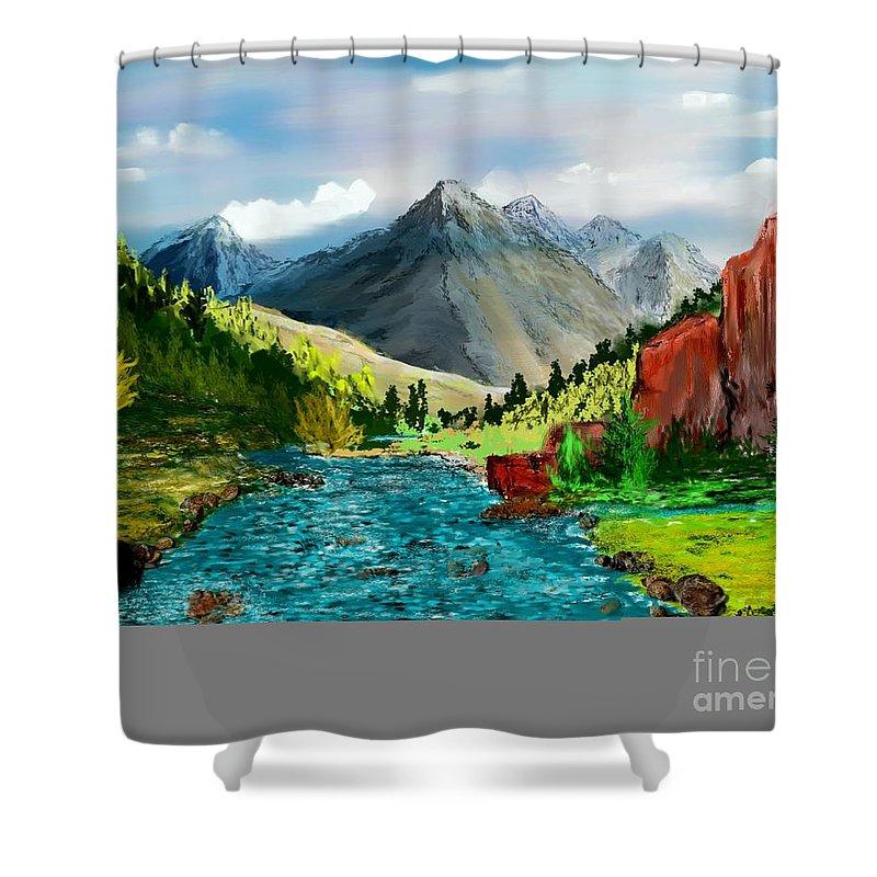 Digital Photograph Shower Curtain featuring the digital art Mountaian Scene by David Lane