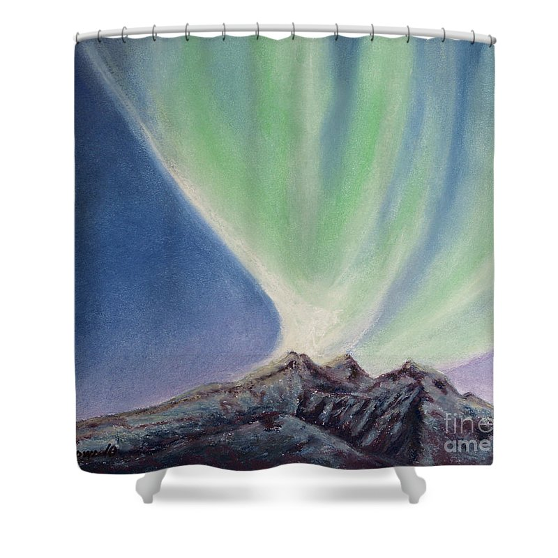 Northern Lights Shower Curtain featuring the painting Mountain Aurora by Stanza Widen