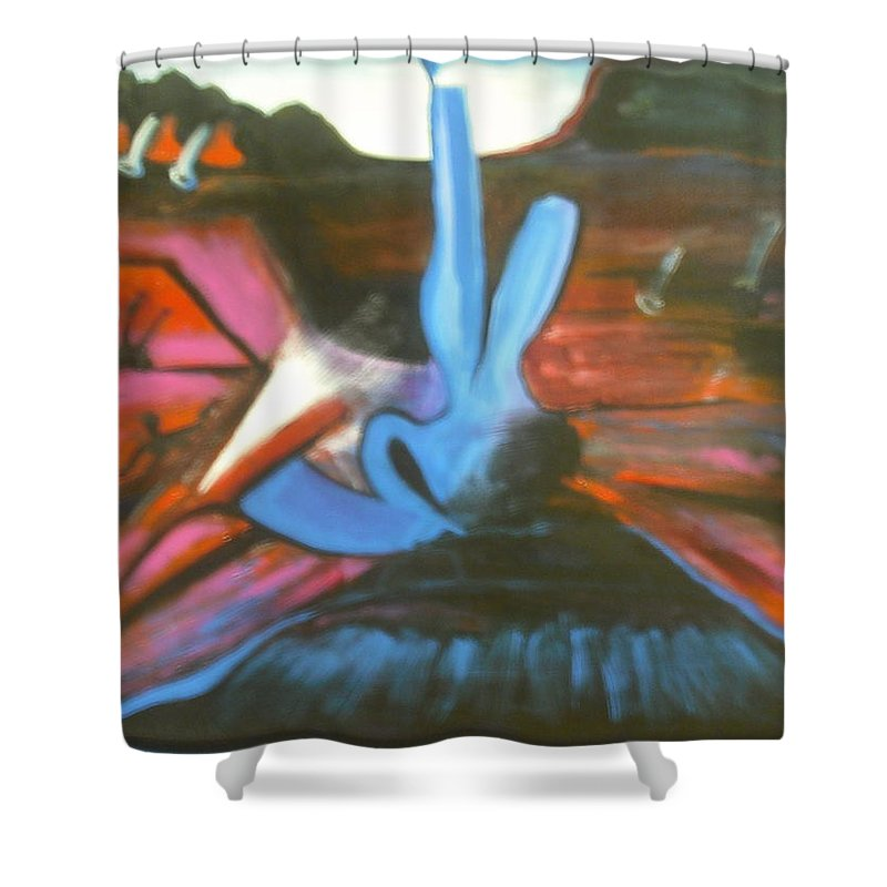 Acrylic. Mountains Shower Curtain featuring the painting Mountain Ciser by Anthony Hurt