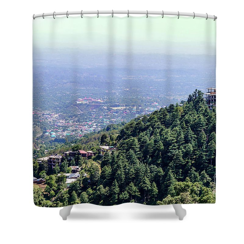 #himalayas #mountaincity #dharamshala #mcleodganj #wallpaper #natural #green Shower Curtain featuring the photograph Mountain City Dharamshala by Gaurav Kumar