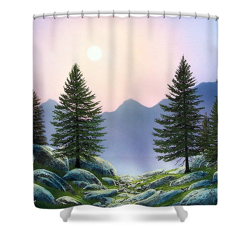 Landscape Shower Curtain featuring the painting Mountain Firs by Frank Wilson
