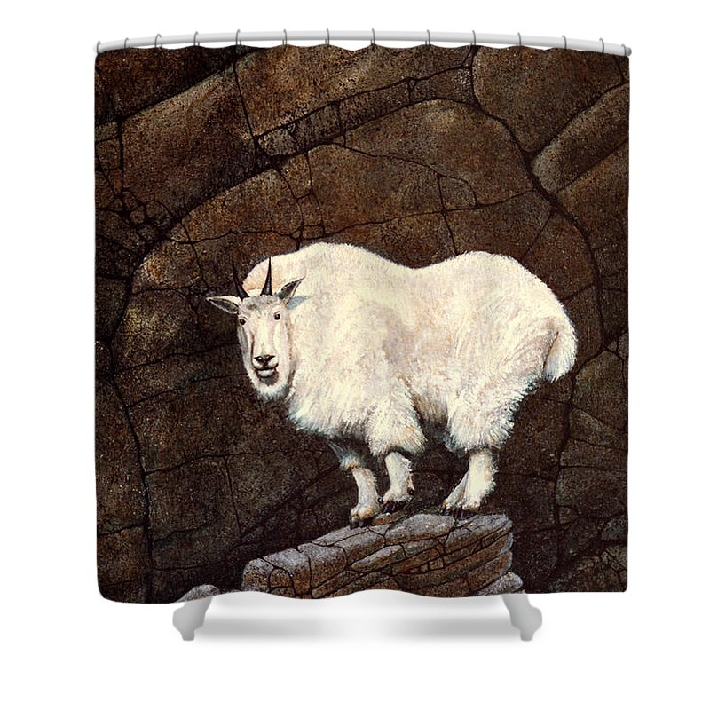 Wildlife Shower Curtain featuring the painting Mountain Goat by Frank Wilson