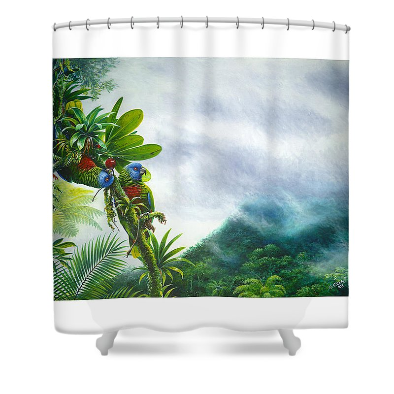 Chris Cox Shower Curtain featuring the painting Mountain High - St. Lucia Parrots by Christopher Cox