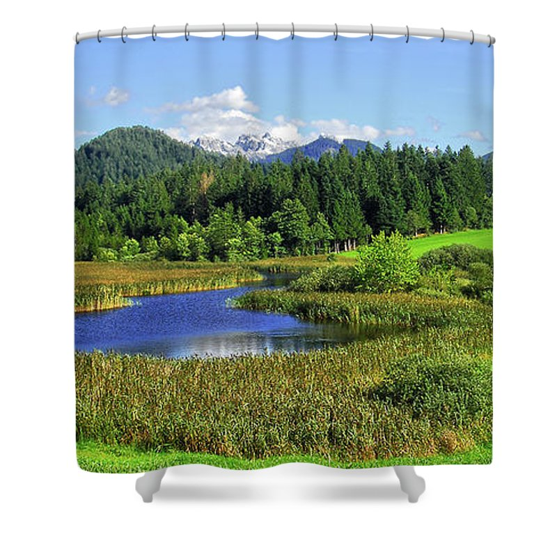 Mountain; Mountains; Rural; Landscape; Alps; Alpine; Pond; Lake; Water; Summer; Forest; Trees; Tree; Nature; Natural; Austria; Green; Sky; ; Outdoors; Tranquil Scene; Beauty In Nature; Scenics; Blue; Day; Sunlight; Beautiful; Relaxation; Travel; Sun; Beauty; Environment; Color Image; Rural Scene Shower Curtain featuring the photograph Mountain Lake Austria by Sabine Jacobs