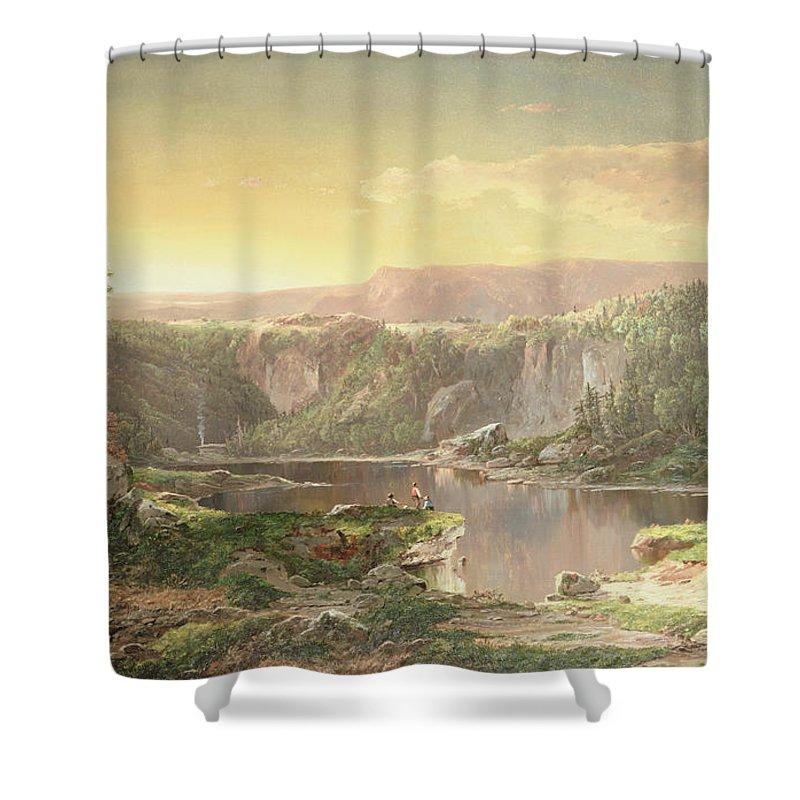 Mountain Lake Near Piedmont Shower Curtain featuring the painting Mountain Lake Near Piedmont by William Sonntag