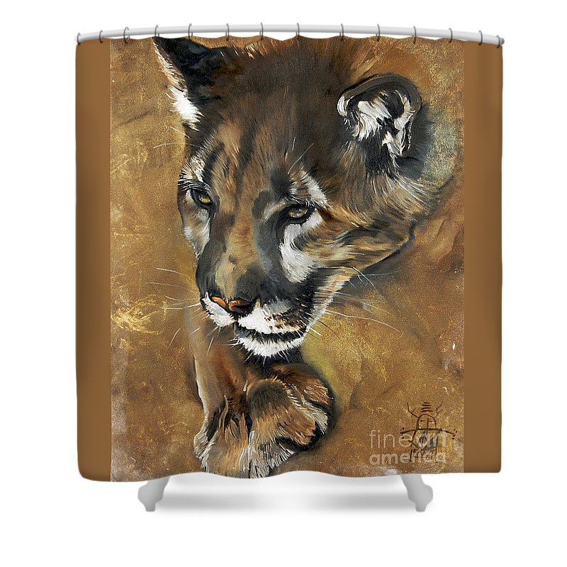 Southwest Art Shower Curtain featuring the painting Mountain Lion - Guardian Of The North by J W Baker