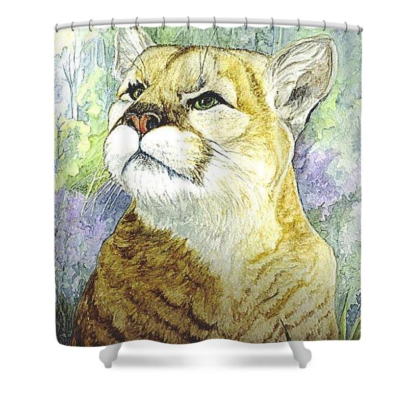 Wild Animal Shower Curtain featuring the painting Mountain Lion by Carol Wisniewski