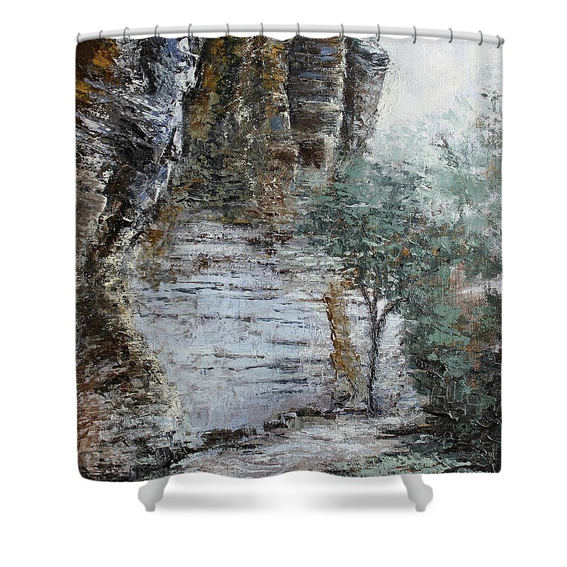 Landscape Shower Curtain featuring the painting Mountain Pass by Todd Blanchard
