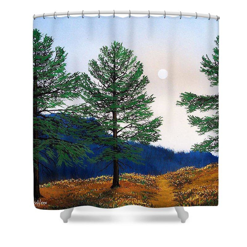 Shower Curtain featuring the painting Mountain Pines by Frank Wilson