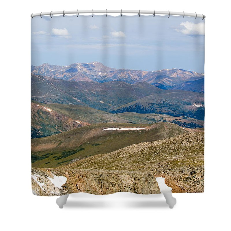Mount Evans Shower Curtain featuring the photograph Mountain Range From Mount Evans Summit by Steve Krull