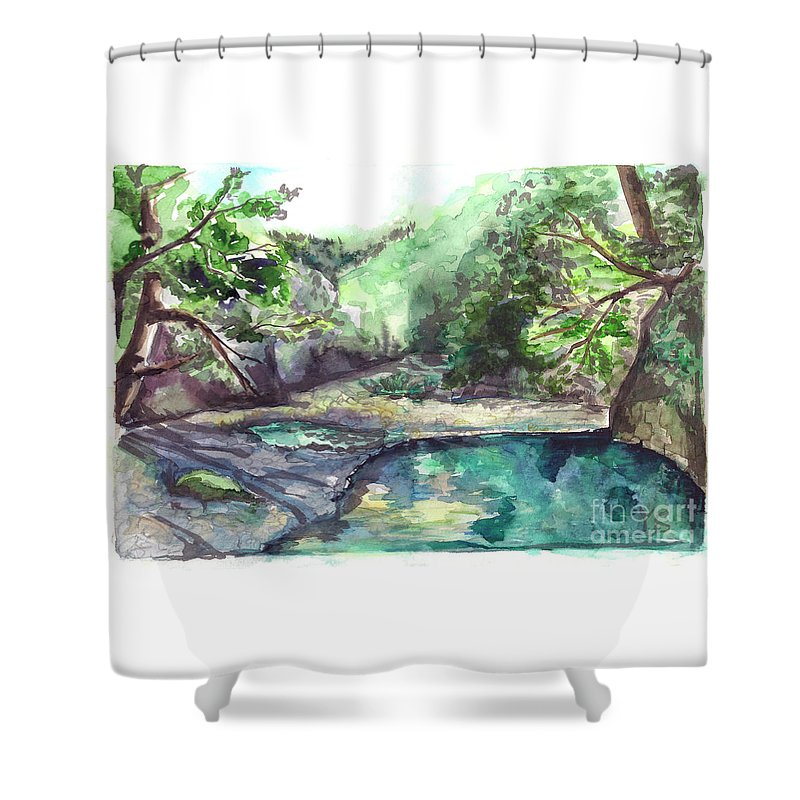 Mountain Shower Curtain featuring the painting Mountain River by Yana Sadykova