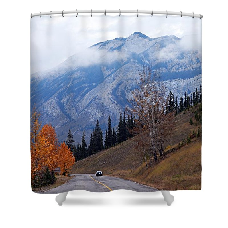 Jasper National Park Shower Curtain featuring the photograph Mountain Road by Larry Ricker