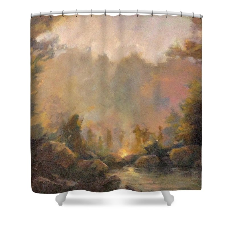 Landscape Indian Spirits Shower Curtain featuring the painting Mountain Spirits by E W Carlson