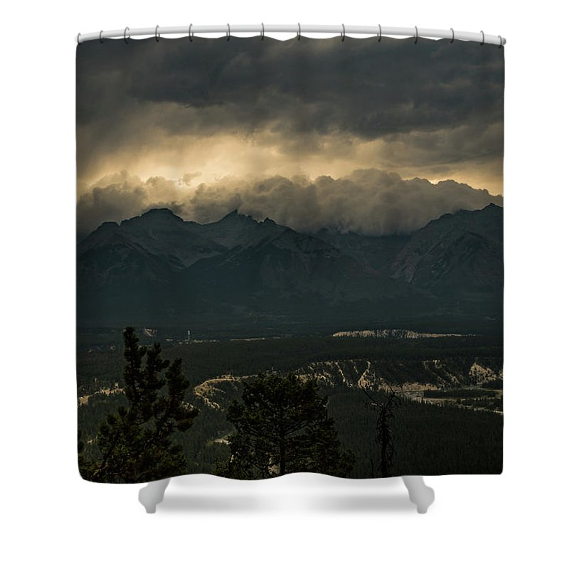 Canadian Rockies Shower Curtain featuring the photograph Mountain Storm by Todd Carriveau