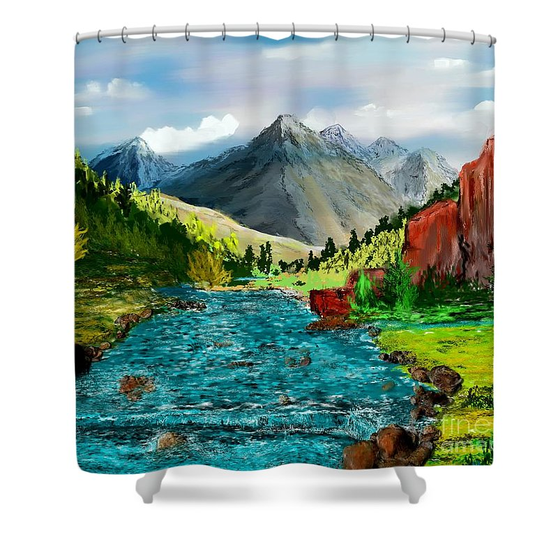 Nature Shower Curtain featuring the digital art Mountain Stream by David Lane
