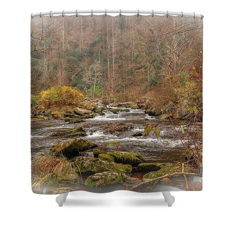 Mountain Shower Curtain featuring the photograph Mountain Stream With Vignette #2 by Tom Claud